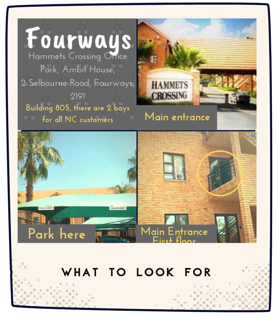 NakedCherry Fourways Visual Location Guide